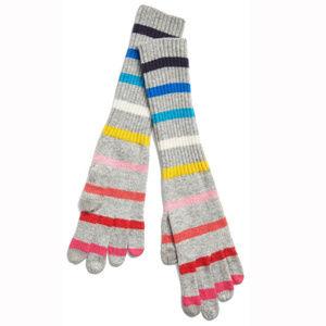 Gap Gray Crazy Stripe Wool Blend Smartphone Gloves